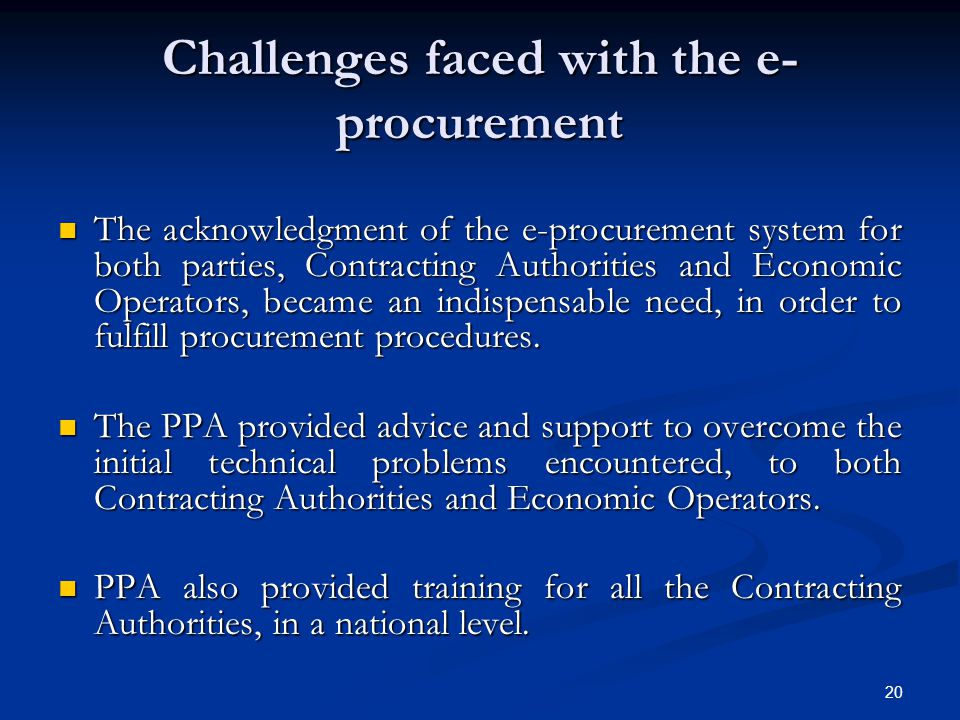 Challenges faced with the e-procurement