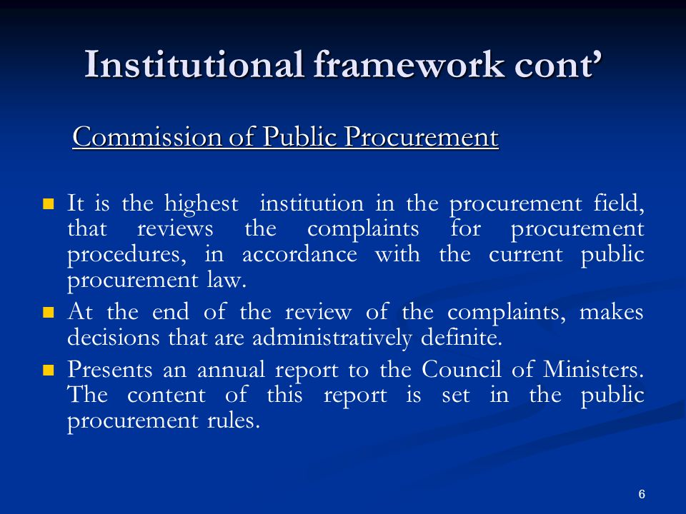 Institutional framework cont'
