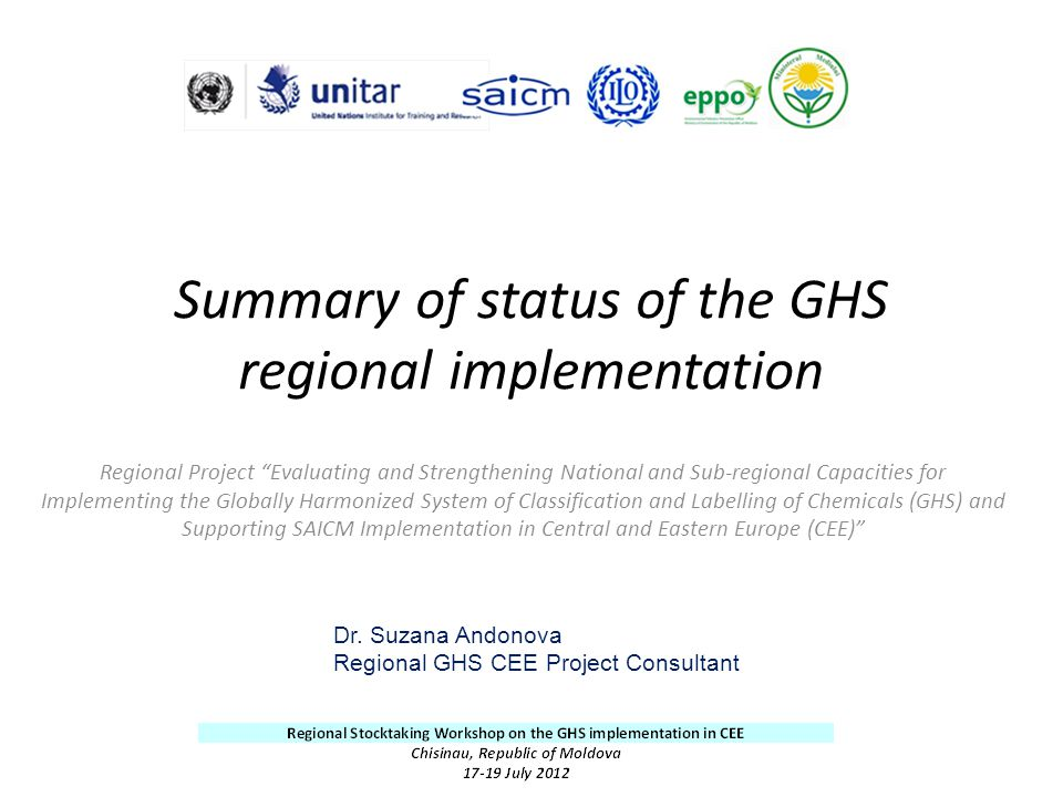 Summary of status of the GHS regional implementation