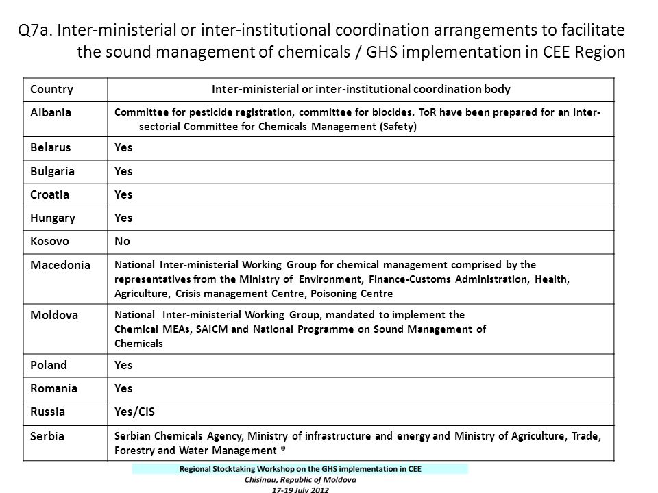 Inter-ministerial or inter-institutional coordination body