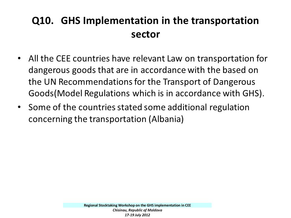 Q10. GHS Implementation in the transportation sector