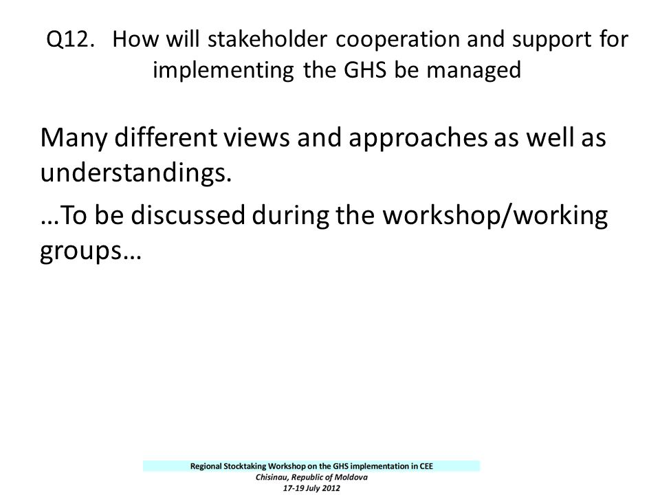 Q12. How will stakeholder cooperation and support for implementing the GHS be managed