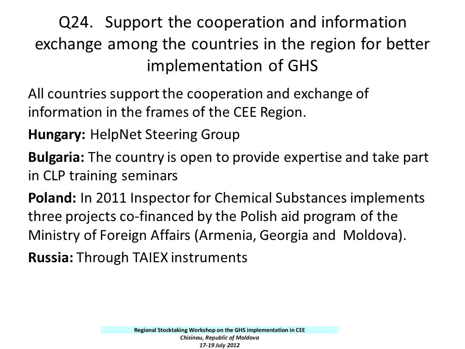 Q24. Support the cooperation and information exchange among the countries in the region for better implementation of GHS