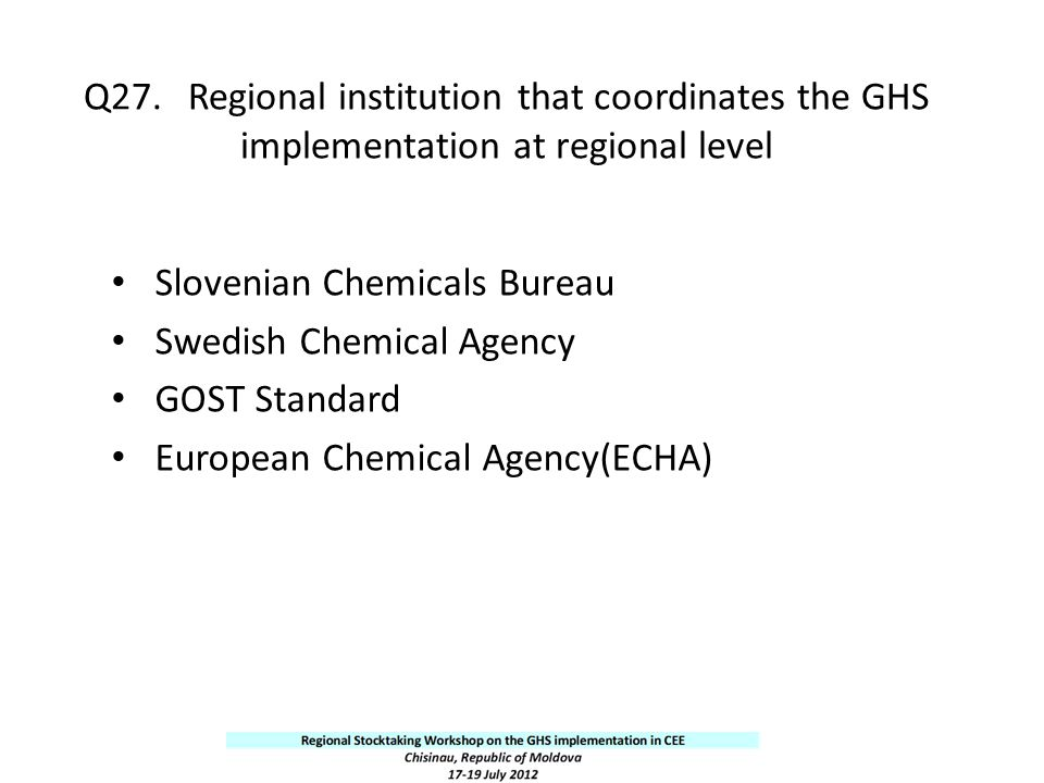 Q27. Regional institution that coordinates the GHS implementation at regional level
