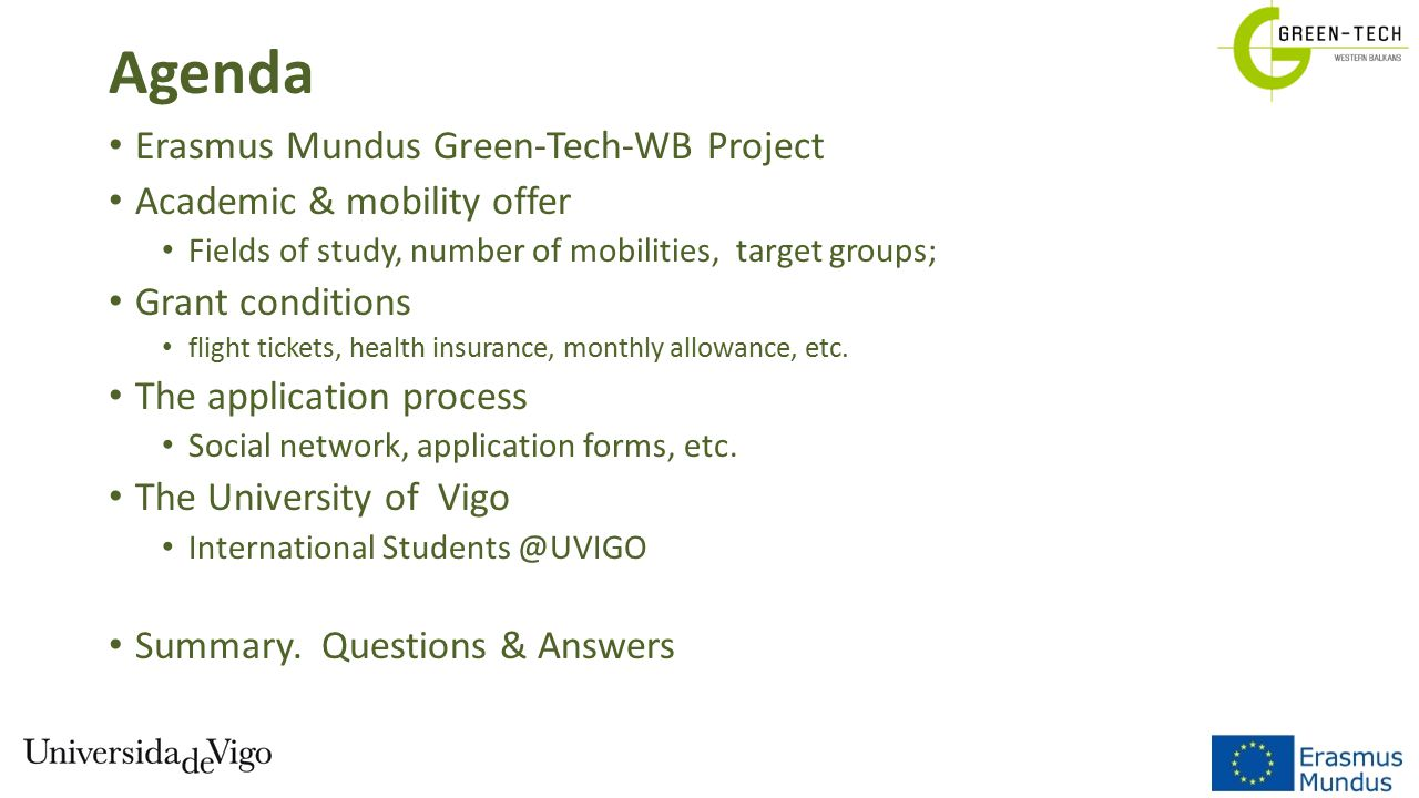 Agenda Erasmus Mundus Green-Tech-WB Project Academic & mobility offer
