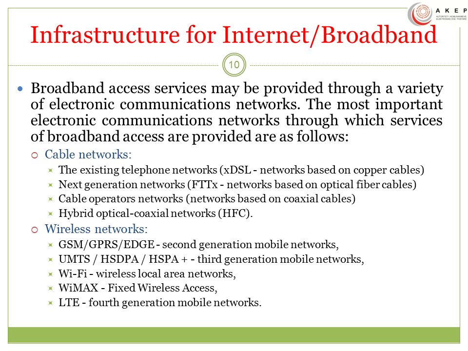 Infrastructure for Internet/Broadband