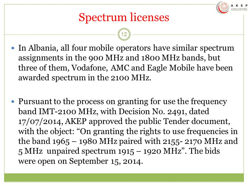 Spectrum licenses