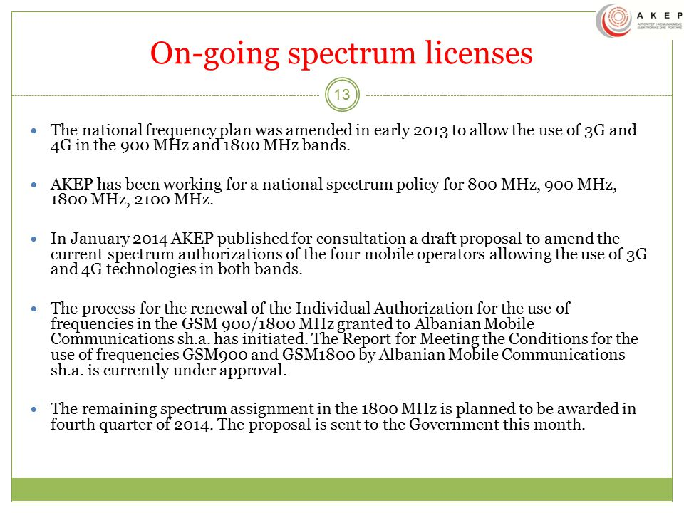 On-going spectrum licenses