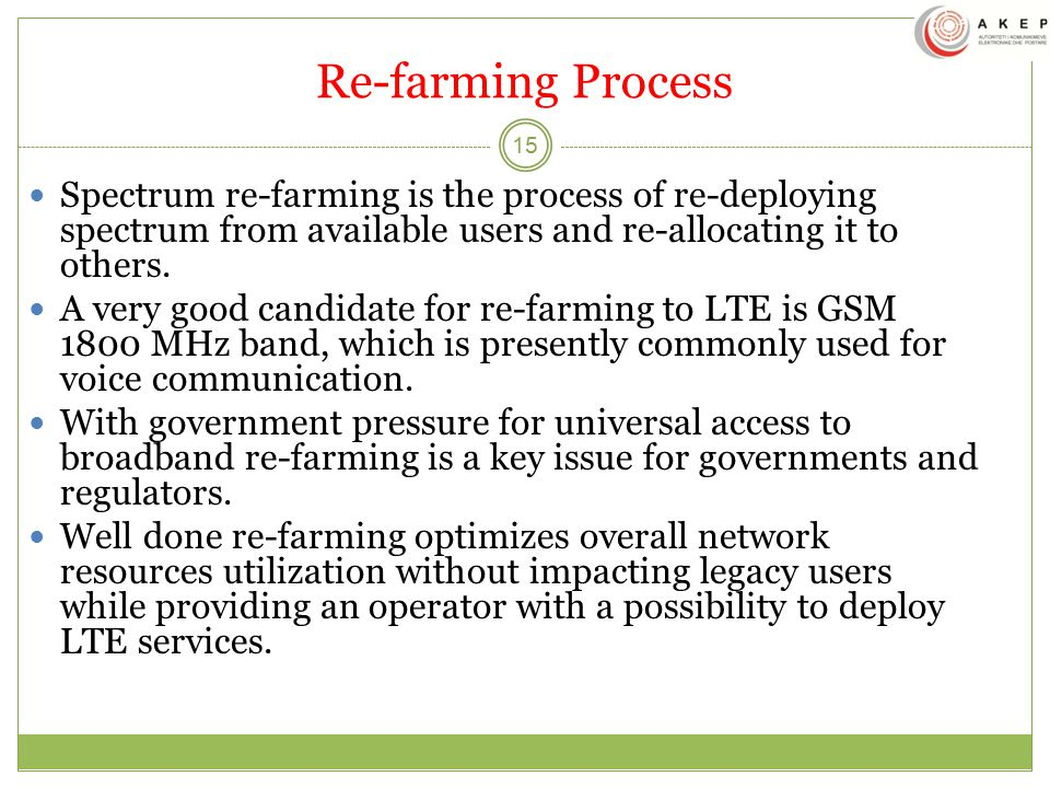 Re-farming Process Spectrum re-farming is the process of re-deploying spectrum from available users and re-allocating it to others.