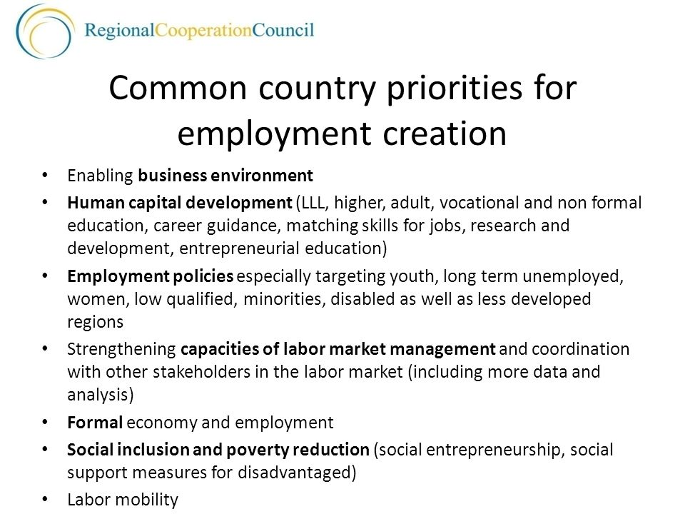 Common country priorities for employment creation