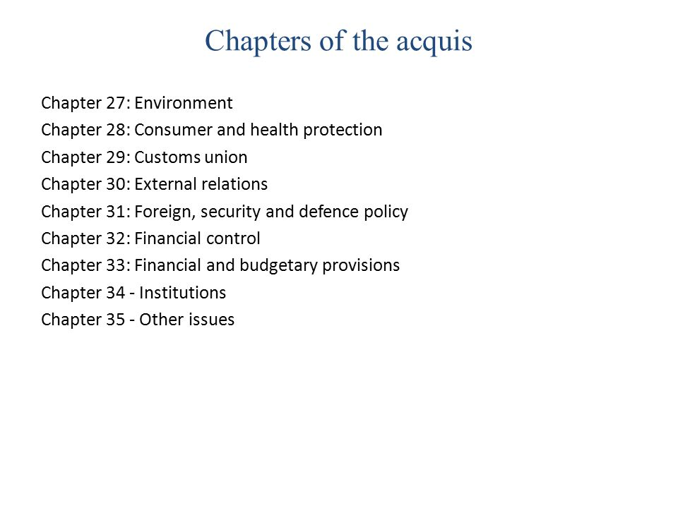 Chapters of the acquis