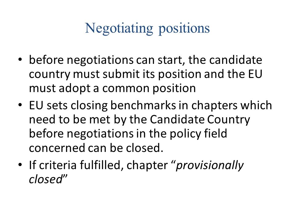 Negotiating positions