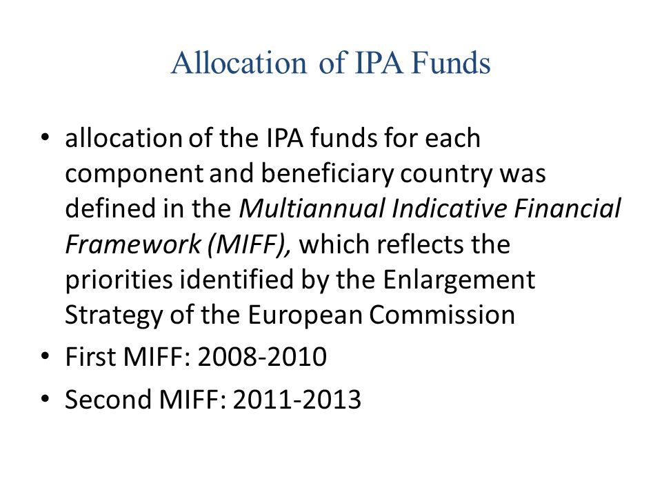 Allocation of IPA Funds