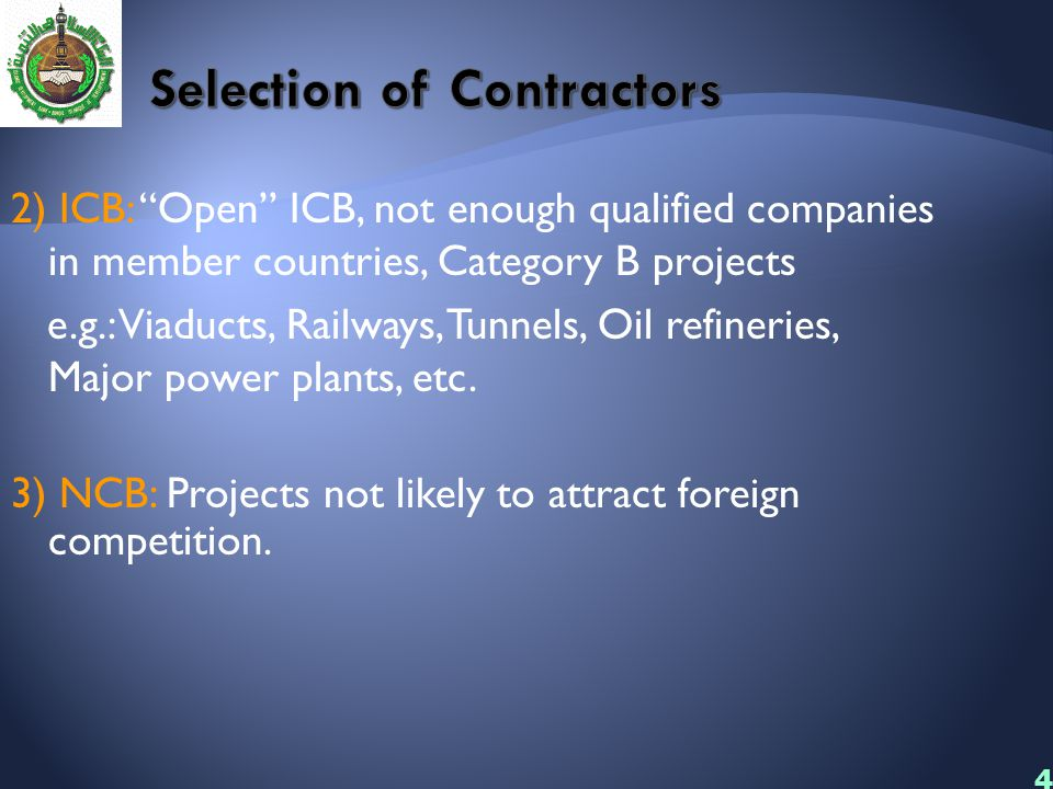 Selection of Contractors