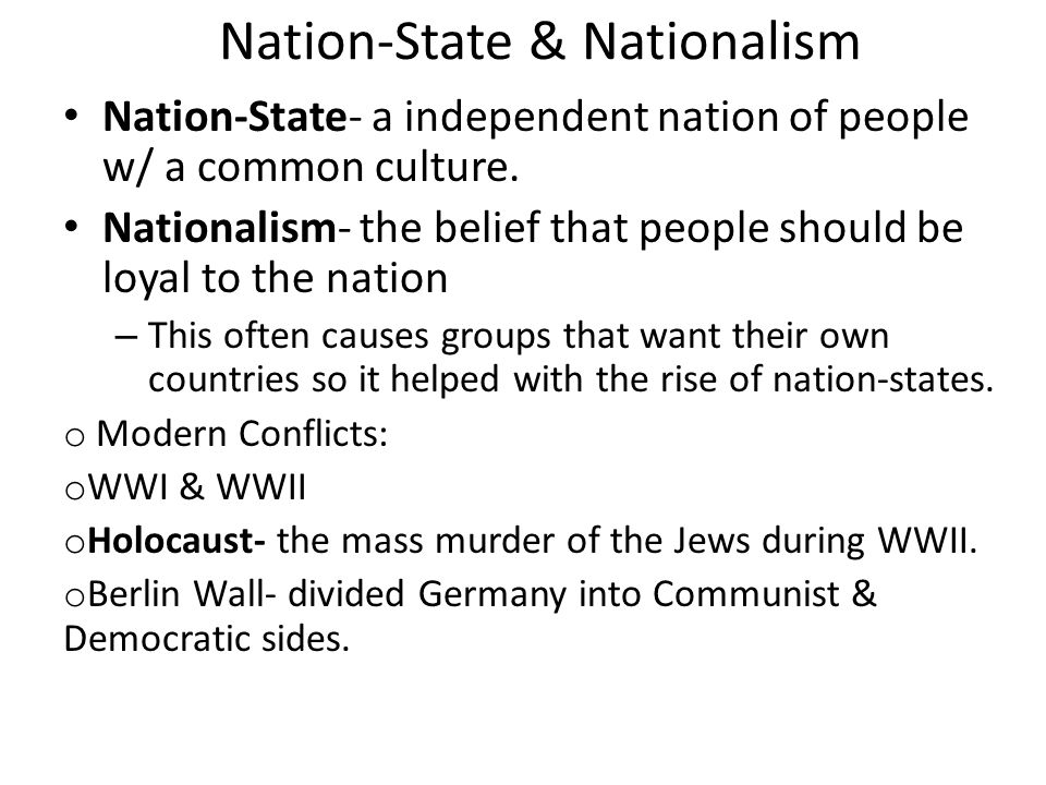 Nation-State & Nationalism