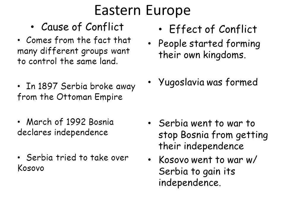 Eastern Europe Cause of Conflict Effect of Conflict