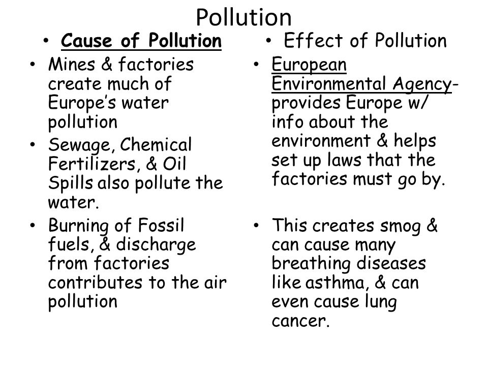 Pollution Cause of Pollution Effect of Pollution