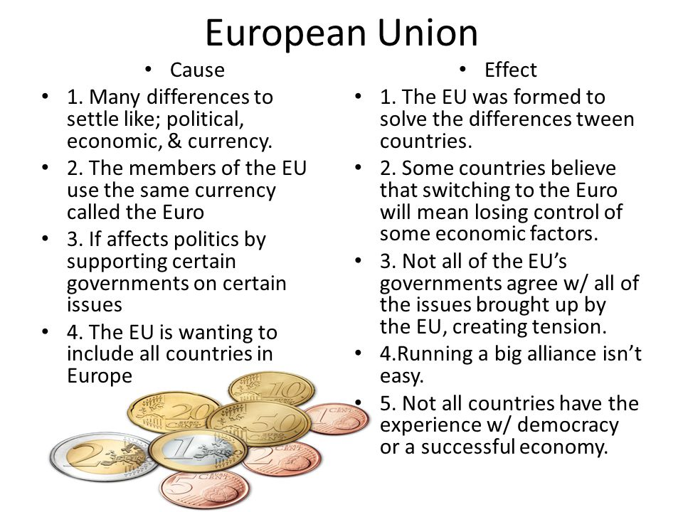 European Union Cause. 1. Many differences to settle like; political, economic, & currency.