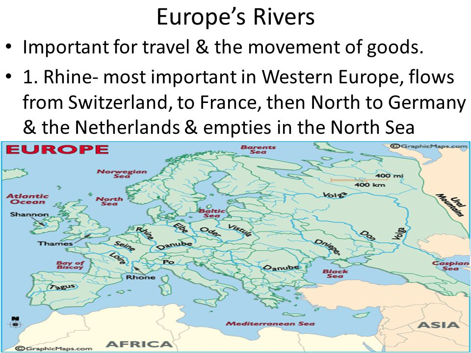 Europe's Rivers Important for travel & the movement of goods.