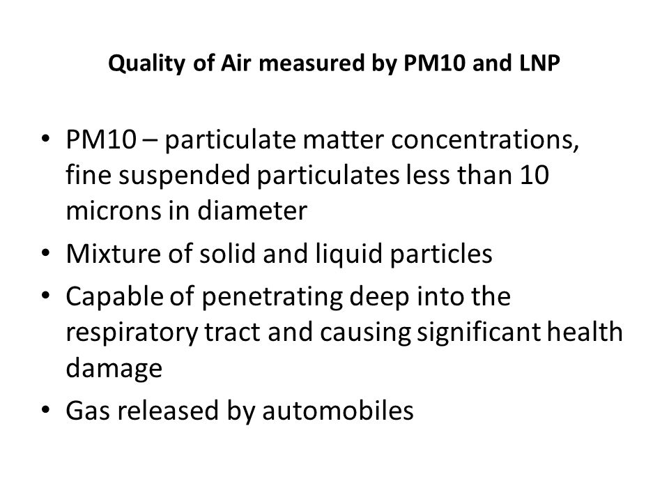 Quality of Air measured by PM10 and LNP