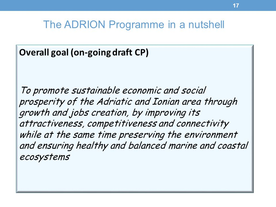 The ADRION Programme in a nutshell