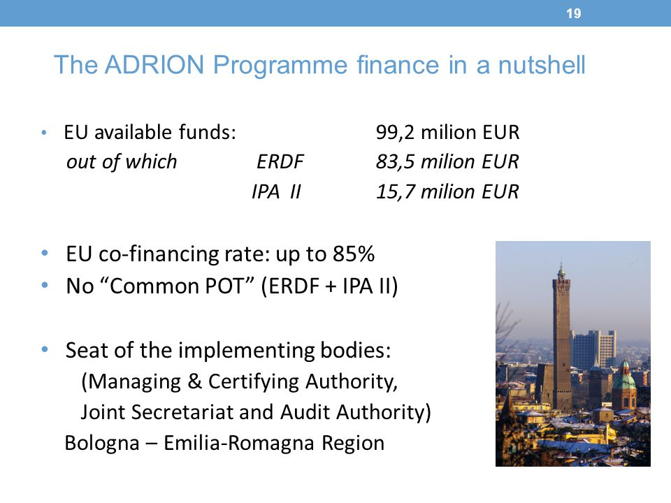 The ADRION Programme finance in a nutshell