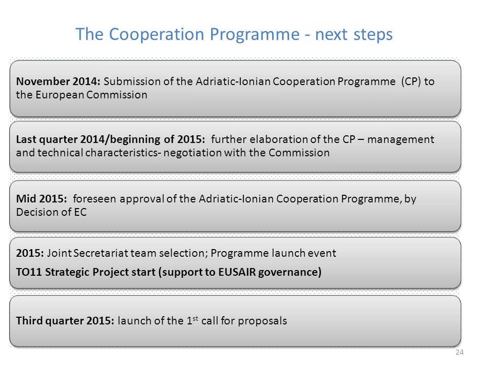 The Cooperation Programme - next steps