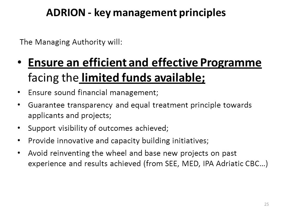 ADRION - key management principles
