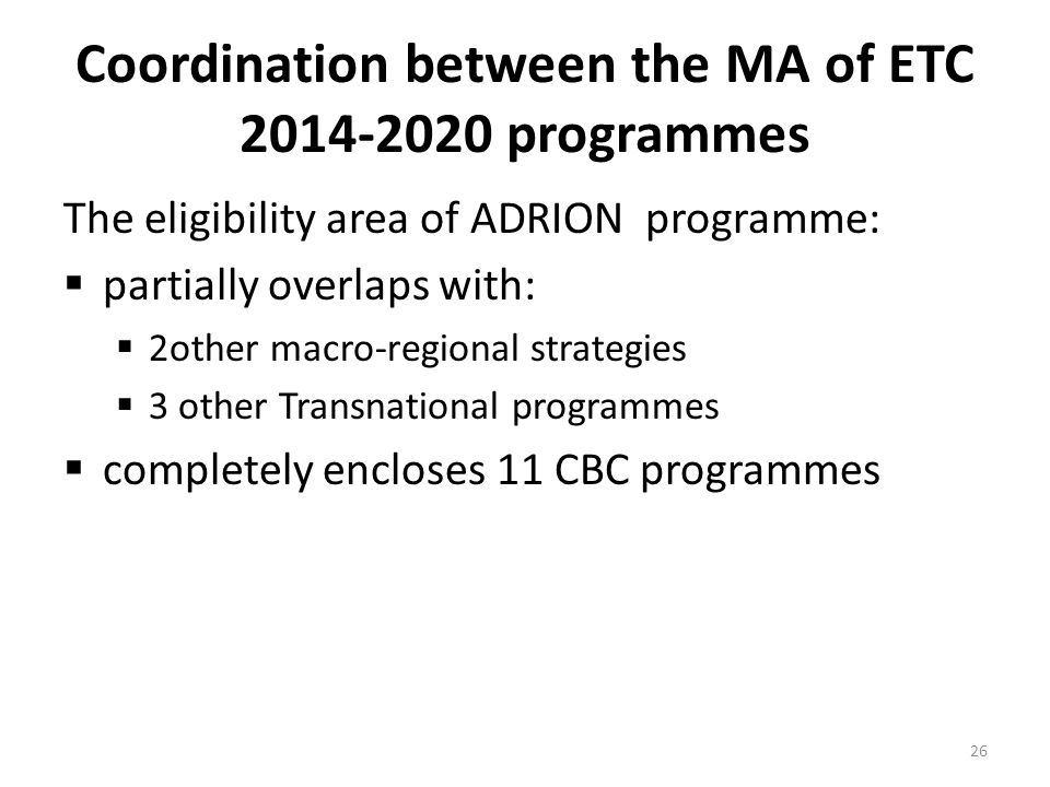 Coordination between the MA of ETC 2014-2020 programmes