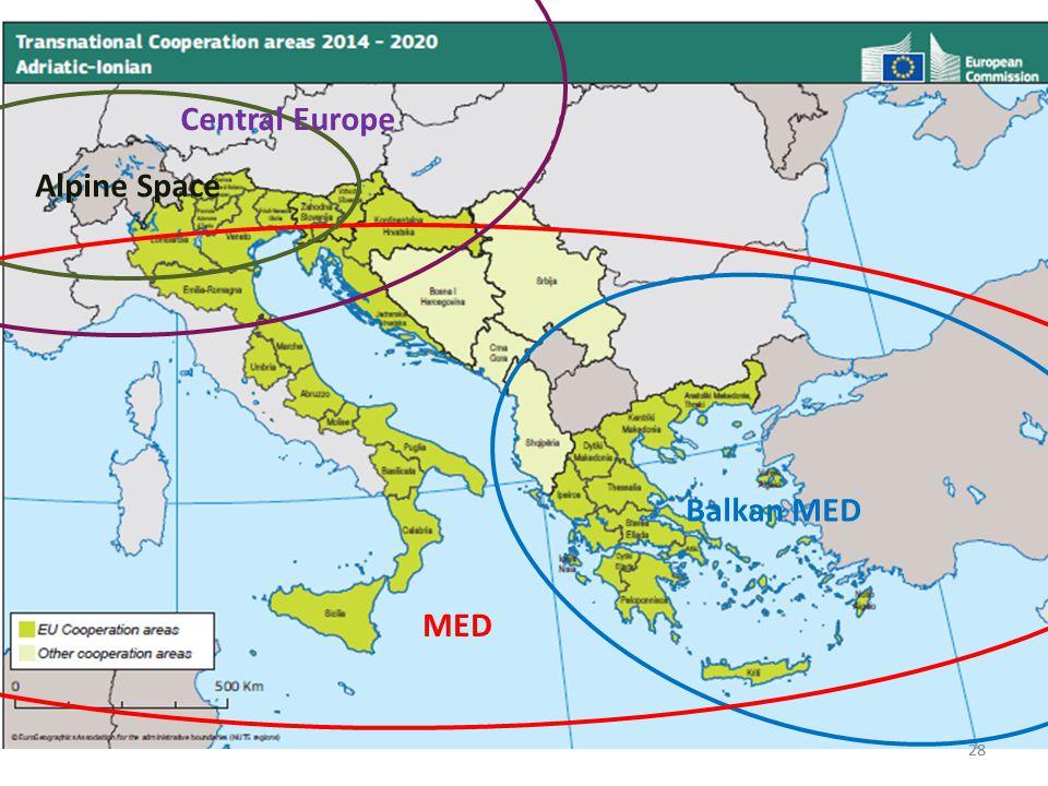 Central Europe Alpine Space Balkan MED MED 28