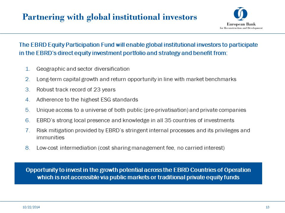 Partnering with global institutional investors