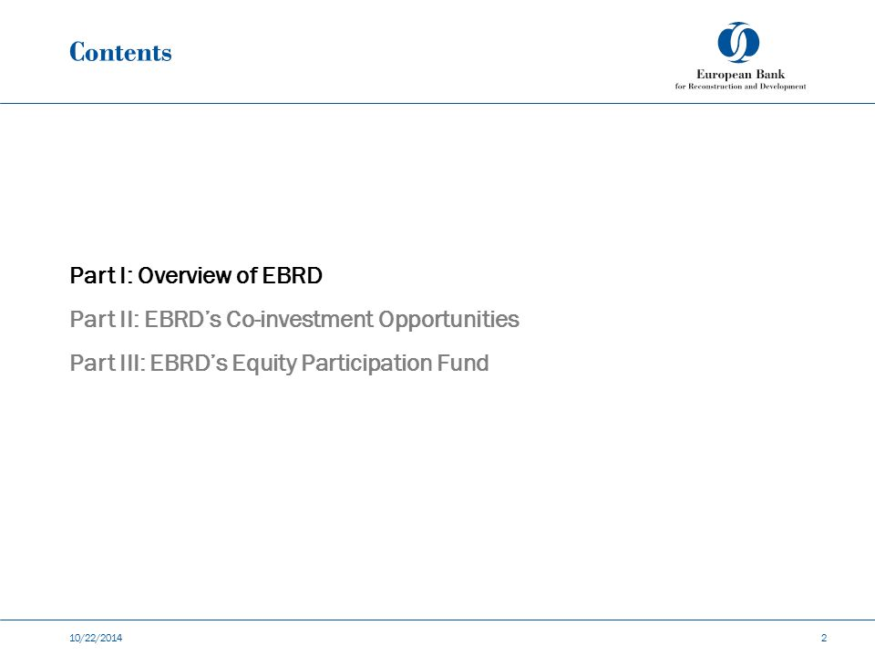 Contents Part I: Overview of EBRD