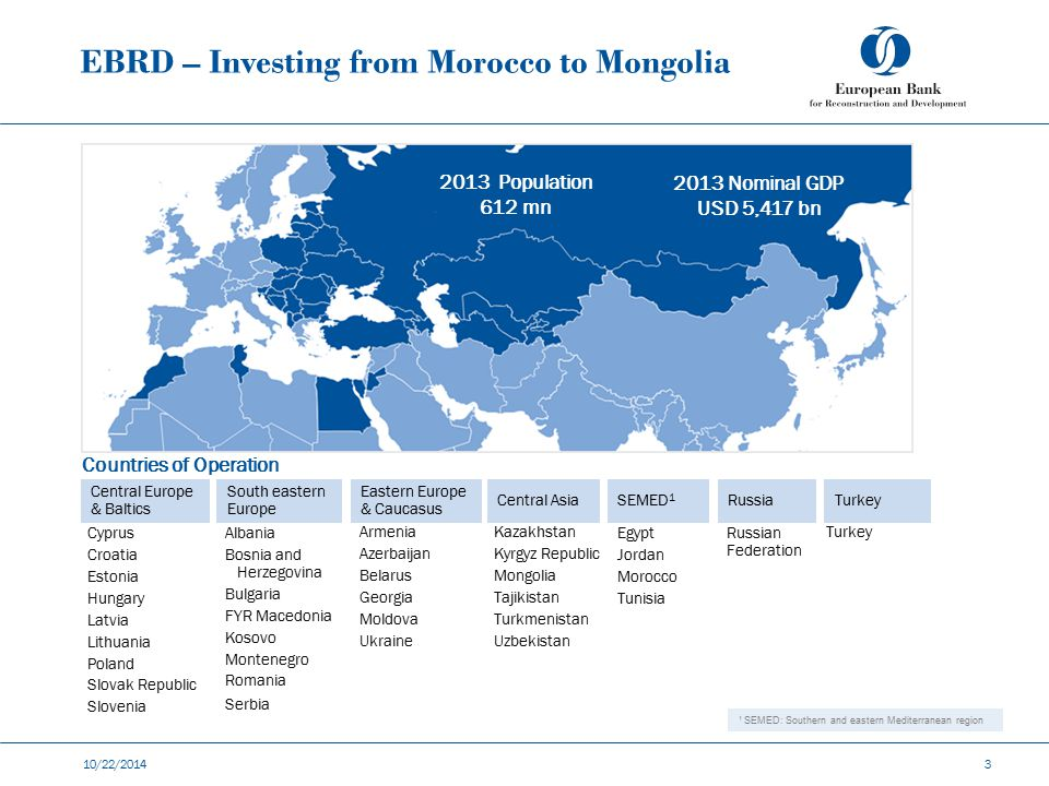 EBRD – Investing from Morocco to Mongolia