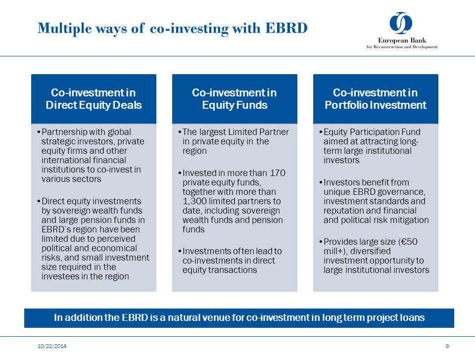 Multiple ways of co-investing with EBRD