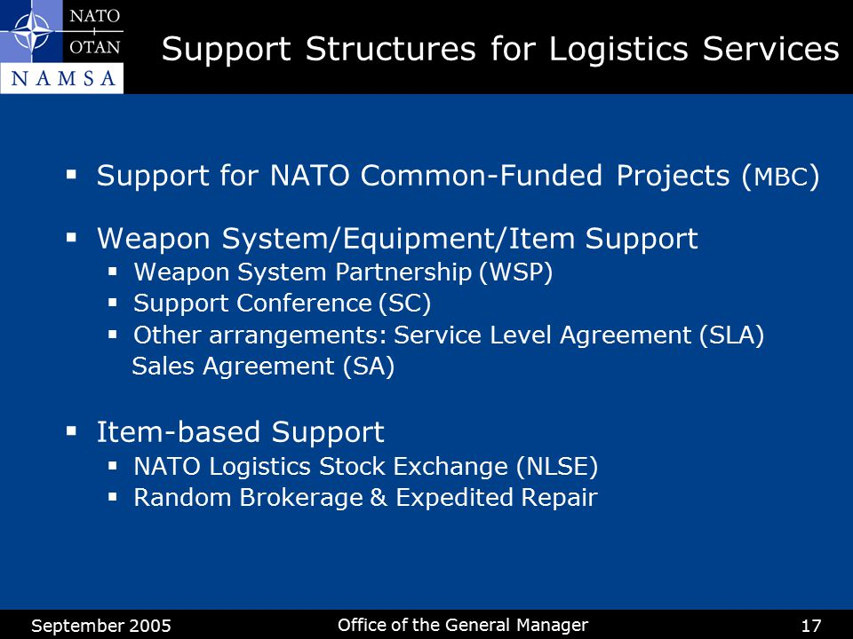 Support Structures for Logistics Services