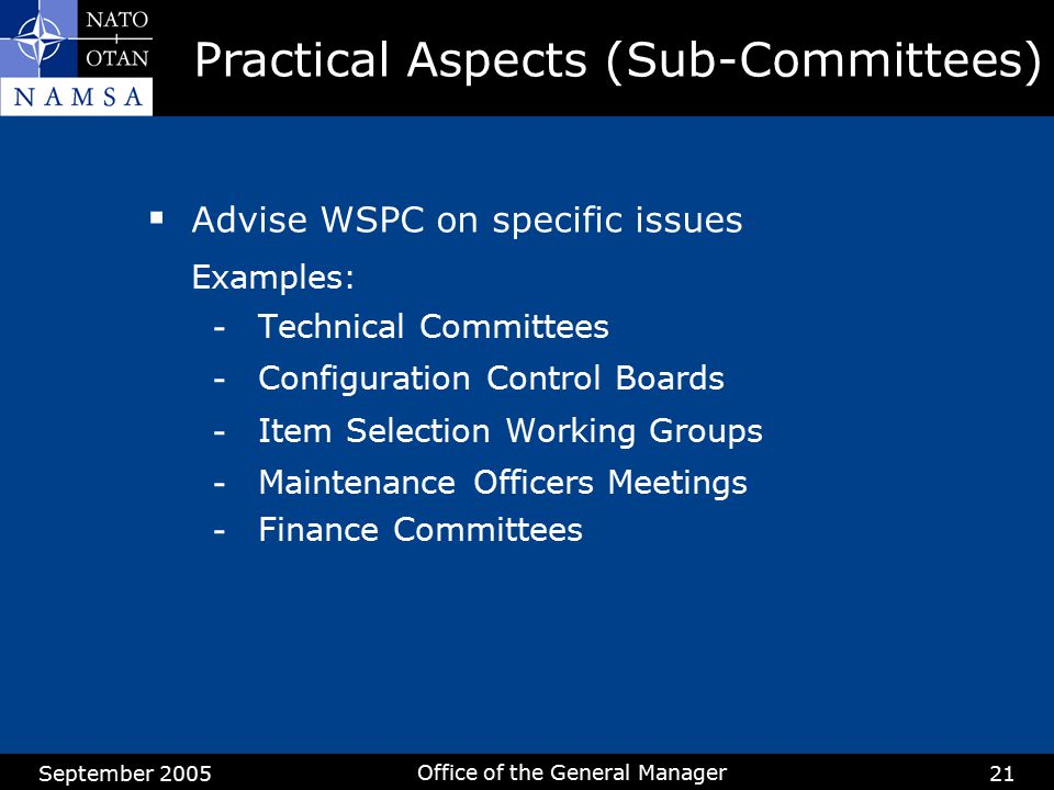 Practical Aspects (Sub-Committees)