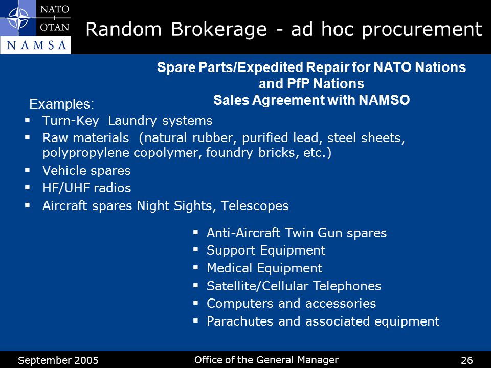 Random Brokerage - ad hoc procurement