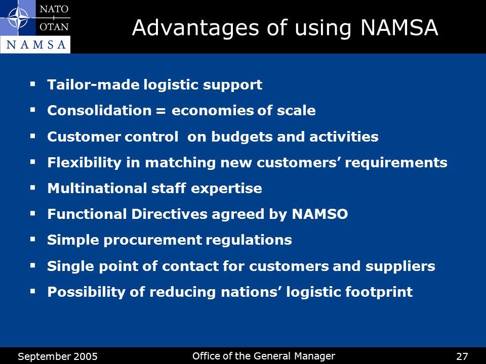 Advantages of using NAMSA