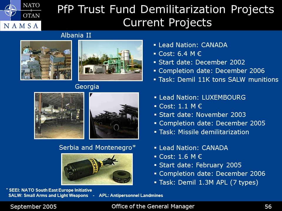 PfP Trust Fund Demilitarization Projects Current Projects