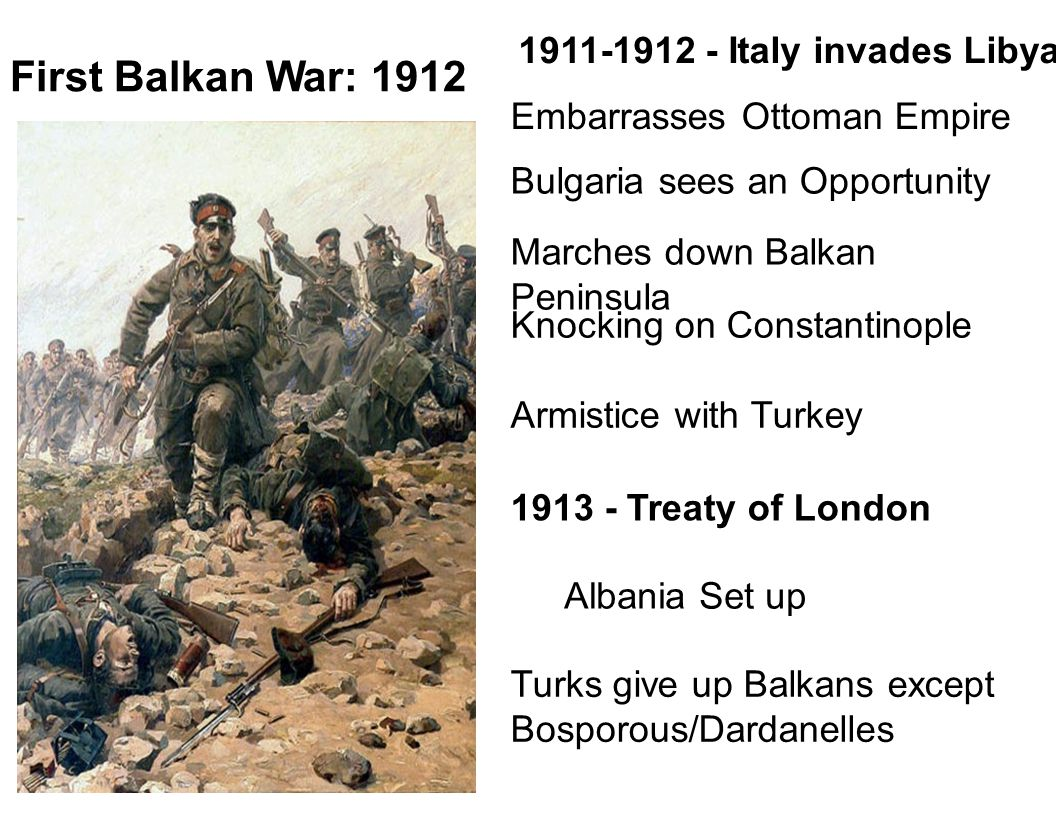 First Balkan War: 1912 1911-1912 - Italy invades Libya
