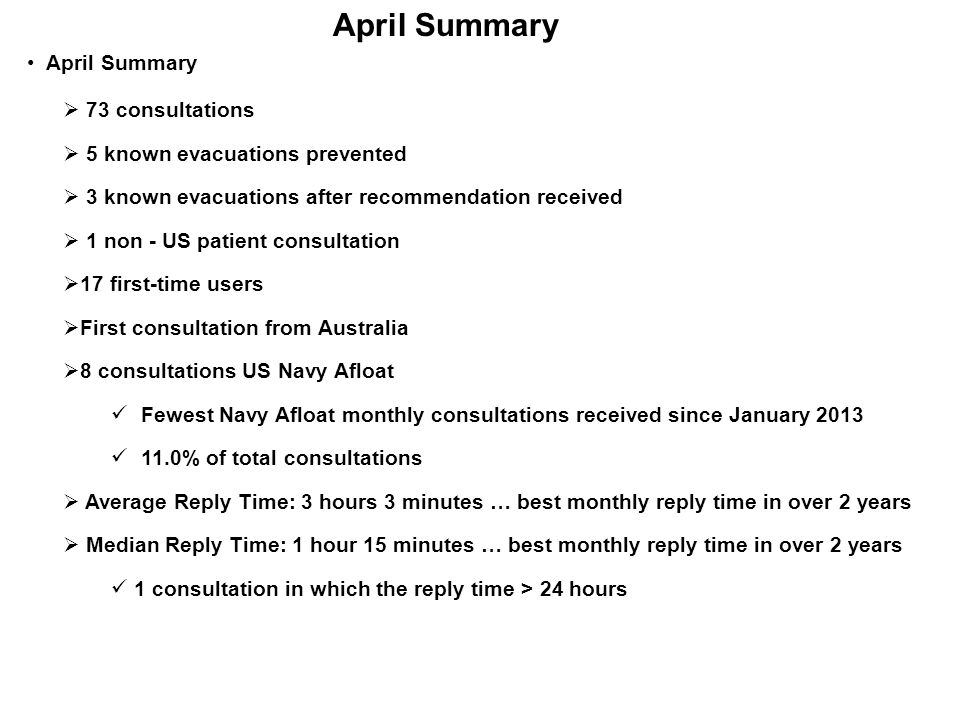 April Summary April Summary 73 consultations