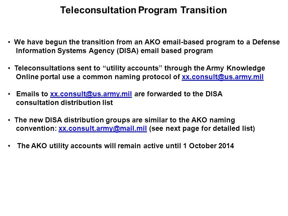 Teleconsultation Program Transition