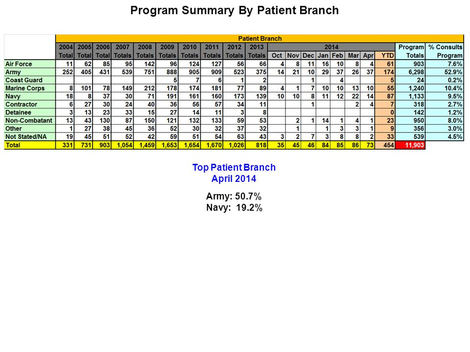Program Summary By Patient Branch