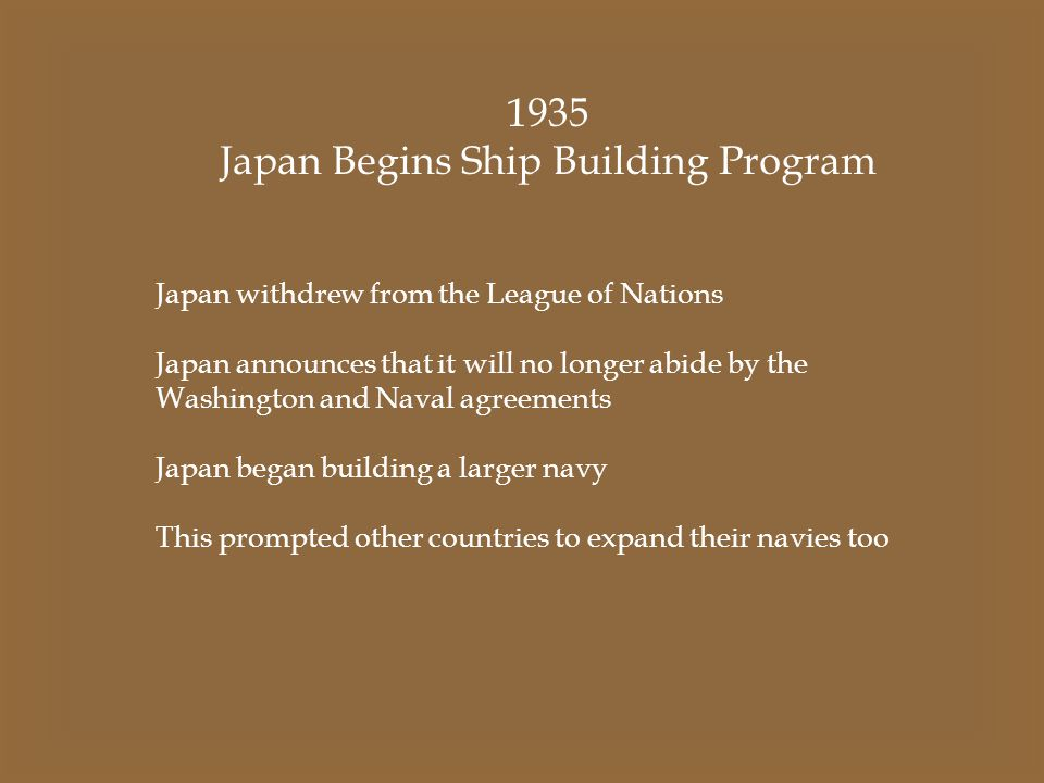Japan Begins Ship Building Program