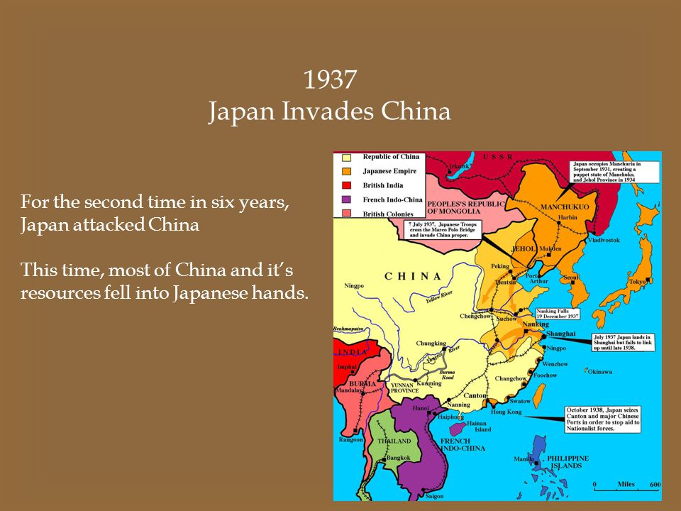 1937 Japan Invades China For the second time in six years,