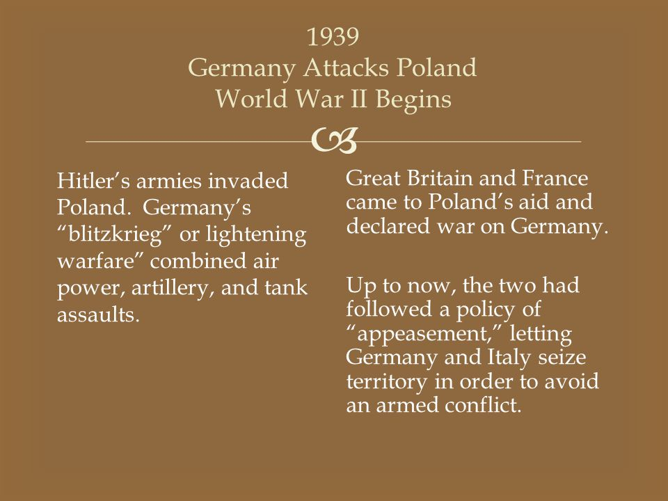 1939 Germany Attacks Poland World War II Begins