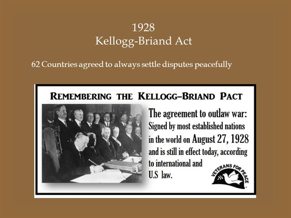 1928 Kellogg-Briand Act 62 Countries agreed to always settle disputes peacefully