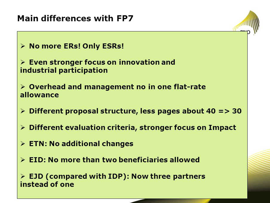 Main differences with FP7