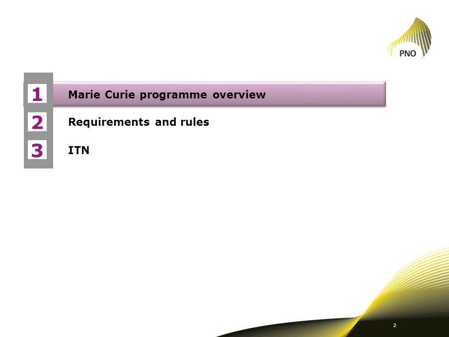 1 Marie Curie programme overview Requirements and rules ITN 2 3