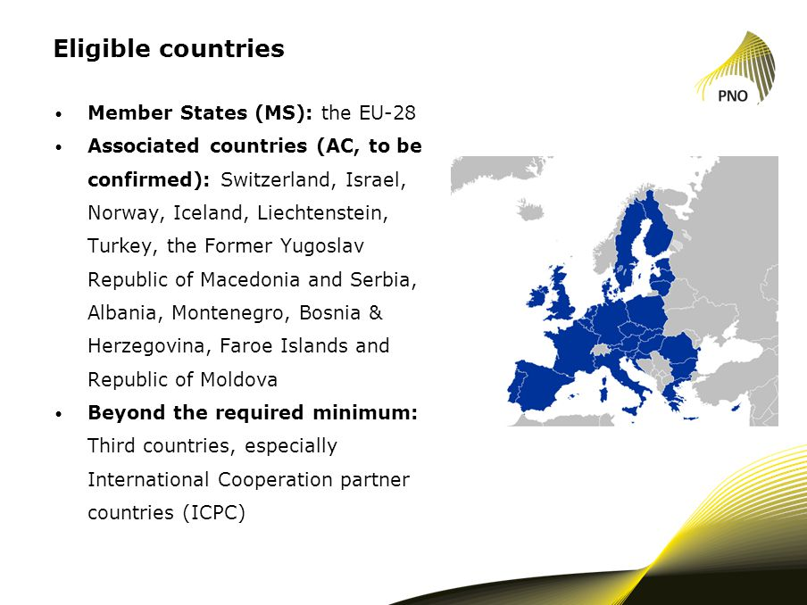 Eligible countries Member States (MS): the EU-28